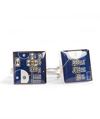 Recycled Shaltungsplatine (circuit board) Manschettenknopf, Quadrat, Dunkelblau