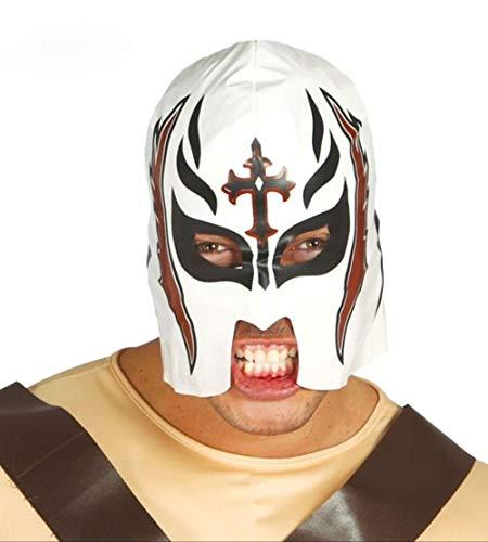 Máscara de Lucha Libre Blanca con Cruz