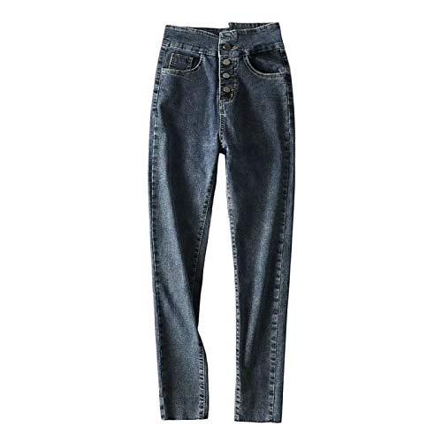 Pantalones Vaqueros de Mujer de Cintura Alta con múltiples Botones y Levantamiento de glúteos Pantalones de...