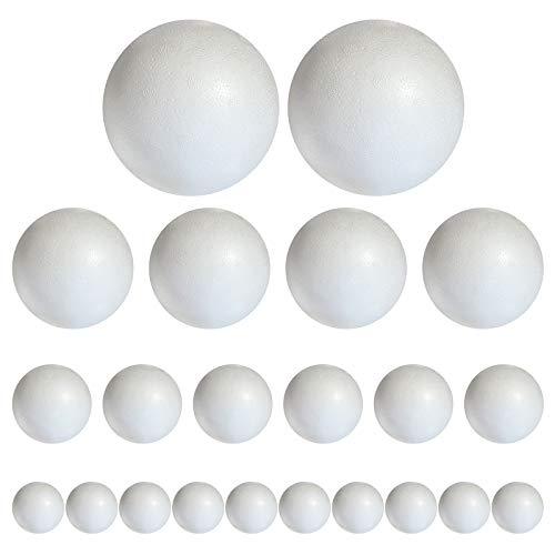 Styropor Bolas de poliestireno mezcladas, 20 unidades En 4 tamaños: 2 x 10 cm 4 x 8 cm 6 x 7 cm 8 x 6 cm, Blanco, 2x10cm 4x8cm 6x7cm 8x6cm