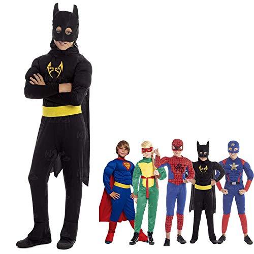 Disfraz Superhroe Bat Black Nio MurcilagoTallas Infantiles[Talla 3-4 aos] | Disfraces Nios Superhroes con Capa Antifaz Cosplay Hroes para Carnaval Halloween Cumpleaos Fiesta Disfraces