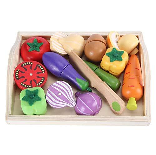 PETRLOY Reconocer frutas, juguetes para niños, juguetes de madera para frutas y verduras, juguetes para juegos de simulación, comida, juguetes para cortar verduras, juguetes para niños, niños de 3 4 5