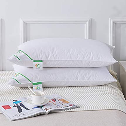 DUO-V Home - Almohadas de plumas y plumas de ganso con funda de algodón de 240 T, firmeza media y suave, calidad del hotel (48 x 74 cm), algodón, 48x74cm