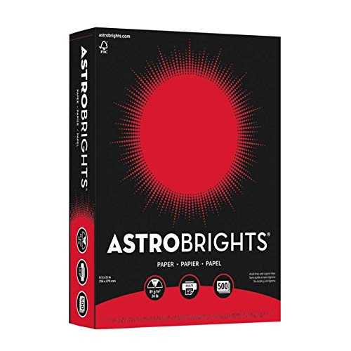 "Astrobrights Color Paper, 8.5"" x 11"", 24 lb/89 gsm, Re-Entry Red, 500 Sheets (21558)"
