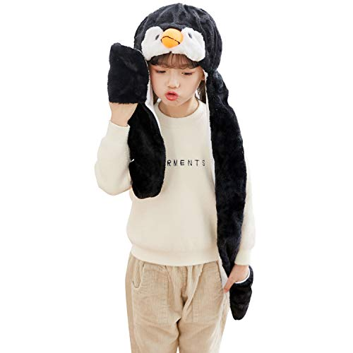PULAMA Penguin Plush Animal Hat Costume Anime Cosplay Cap with Mittens - Fits Adults and Children - Perfect for Cold Breezy Winter Weather
