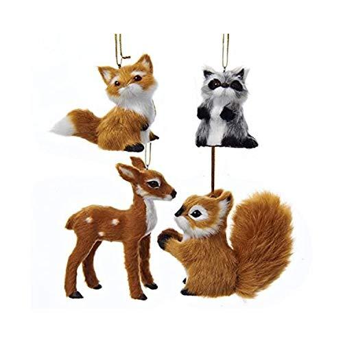 Kurt Adler 2-4 Plush Animal Ornament 4/asstd