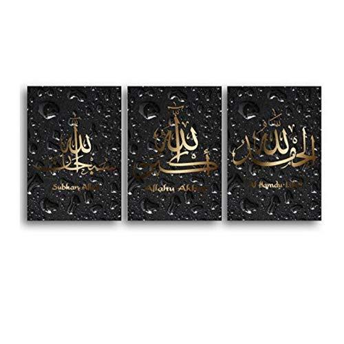 kaxiou canvas afdrukken gouden muurkunst waterdruppels canvas schilderij muurschilderijen kalligrafie kunstdruk poster woonkamer Ramadan decor-40X60Cmx3 stuks geen lijst