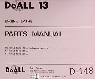 DoAll 13 LD 1320, 1340, 1370 Engine Lathe Parts Manual Year (1992)