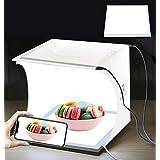 OBEST 撮影ボックス 撮影キットスマホ用 写真撮影用 22*23*24小型 影なしランプ LEDライド*2 ハイビジョンポータブル 折り畳み可能 USB電源モード 6色付き背景布 折り畳み式 軽便携帯型 組み立て簡単 (白)
