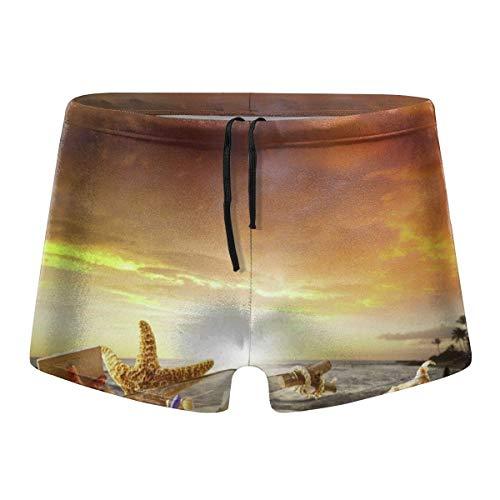Sunset Drift Bottle Starfish Männer Badeanzüge Badeanzüge Surfbrett Boxershorts Trunks, Größe XL
