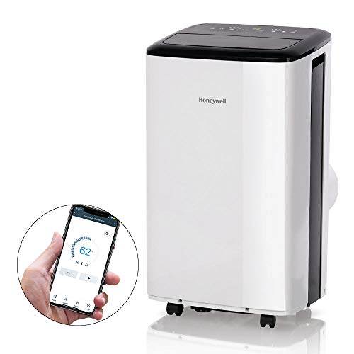 Honeywell 10,000 BTU Smart WiFi Portable Air Conditioner (450 sq.ft.) with Drain Pan & Window Insulation Tape, White/Black