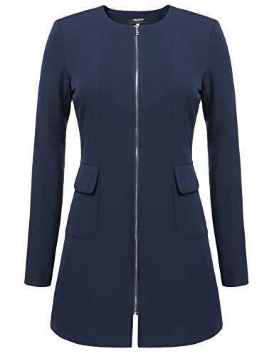 Zeagoo beiläufige Damen Mantel Trenchcoat O-Ansatz lange Hülsen Slim Manteljacke (Dunkelblau)