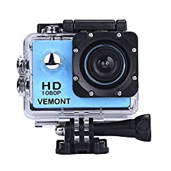 12MP 1080P Full HD 2.0 Inch LCD Screen and wide angle lens, up to 30 fps for fluent, clear photos and videos. Vemont waterproof camera is built-in with IP68 waterproof case, which allows you to dive to underwater 30m/98ft. This sport action camera wi...