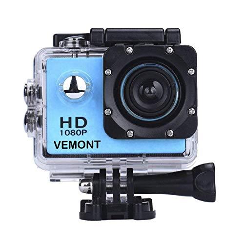 Vemont 1080p 12MP Action Kamera Full HD 2,0 Zoll Bildschirm 30m/98 Fuß Wasserdichte Sports Kamera mit Zubehör Kits für Fahrrad Motorrad Tauchen Schwimmen usw(Blau)