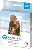 "HP Sprocket 2x3"" Premium Zink Sticky Back Photo Paper (100 Sheets) Compatible with HP Sprocket Photo Printers."