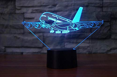 Ledlamp illusie 3D optisch led-nachtlampje vliegtuig 7 kleuren afstandsbediening bedlampje slaapkamer tafel decoratie lamp voor kinderen cadeau verjaardag en vakantie