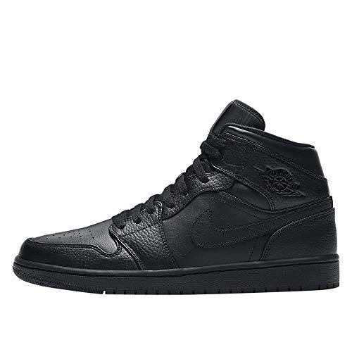 Nike Air Jordan 1 Mid, Scarpe da Basket Uomo, Black/Black-Black, 43 EU