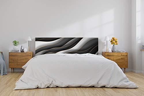 Oedim Cabecero Cama PVC Patrón Dorado y Negro 150x60cm | Disponible en Varias Medidas | Cabecero Ligero, Elegante, Resistente y Económico