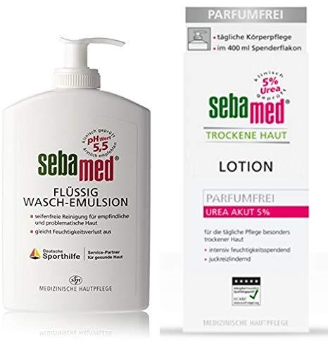 Sebamed Liquide 400 ml dans le distributeur plus Lotion Peau sèche 400 ml Kit économique sans savon pour peaux sensibles et problématiques