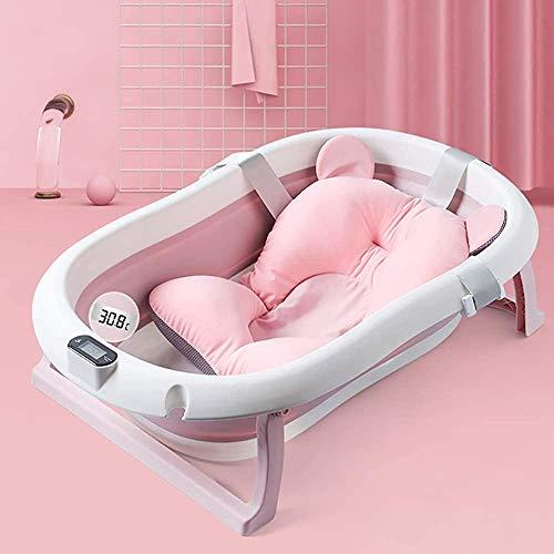 Baño plegable del bebé con exhibición de temperatura, mentira/mintiendo un cubo de baño universal,Pink