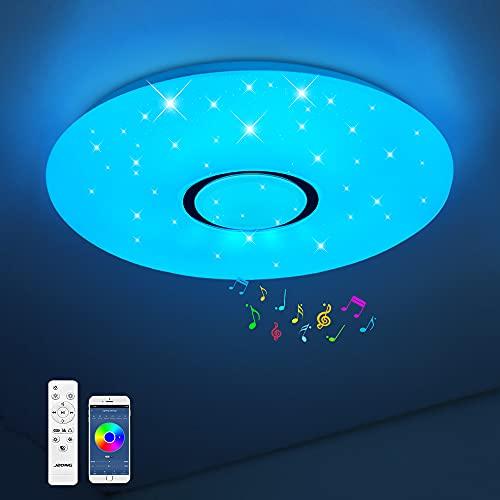 Lámpara LED de techo con mando a distancia y aplicación regulable de 18 W, Bluetooth, cielo estrellado, cambio de color RGB, blanco cálido/blanco frío, IP44, resistente al agua