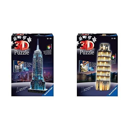 Ravensburger 3D Puzzle Empire State Building bei Nacht, für Kinder und Erwachsene & 3D Puzzle Schiefer Turm von Pisa bei Nacht, 3D Puzzle für Kinder und Erwachsene, Wahrzeichen im Miniatur-Format