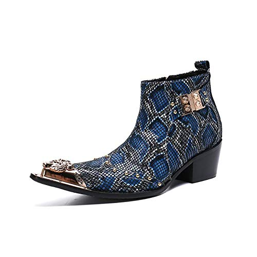 puntige teen Martin lederen laarzen mannen mode Britse Chelsea laarzen gepersonaliseerd slangenprint cowboy laarzen