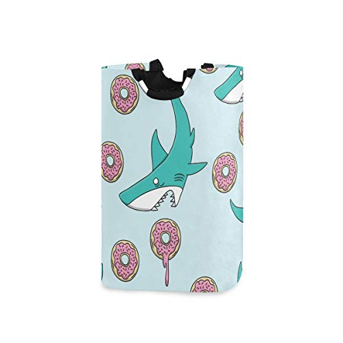 senya Shark Vs Donut Large Laundry Basket Shopping Bag, Collapsible Fabric Laundry Hamper, Foldable Clothes Bag, Folding Washing Bin (i)