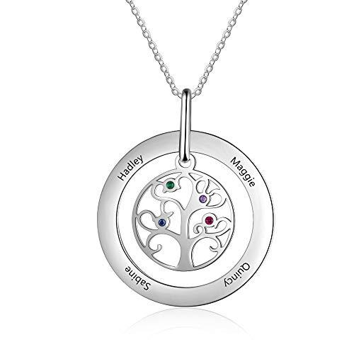 Gaosh Cadena de acero inoxidable para mujer Árbol de la vida con 4 nombres personalizados y 4 colgantes de piedras natales simuladas para la familia del día de la madre