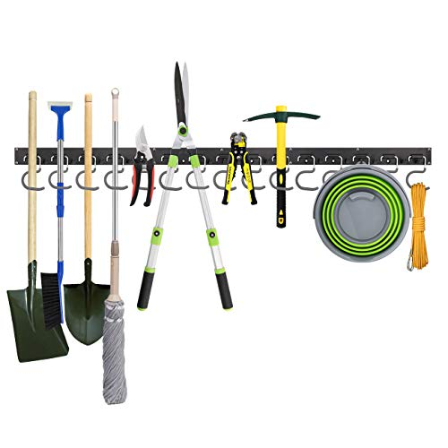 Housolution Adjustable Tool Storage System 48 Inch, 3 Rail Guide 12 Hooks Wall Holder for Tools, Garage Storage, Garden Tool Organizer, Tool Storage for Warehouse, Basement, Workshop - Schwarz
