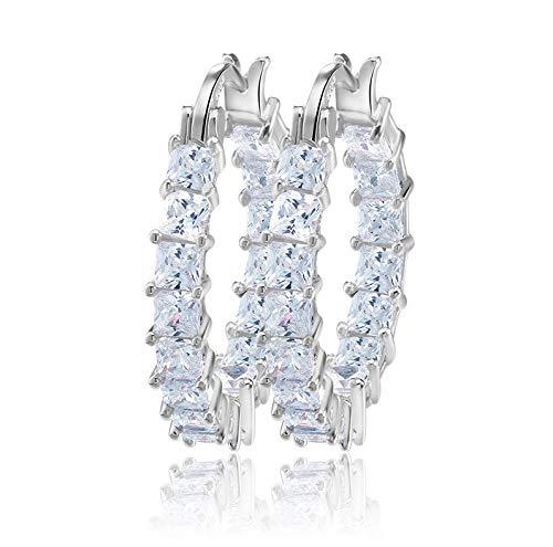 Pendientes de plata de ley 925 con circonita AAA, para dormir, incluye joyas, pendientes de aro de plata de 3,5 cm de diámetro