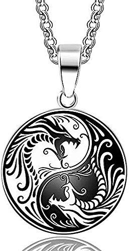 Collar para mujer Collar para hombre Colgante 1 pieza Acero inoxidable 316L Yin Yang Dragon Colgante Collar nórdico Vikingos Runas Amuleto Collares Colgantes Regalos Hombres Collar con colgante de enc