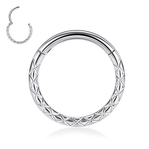 Kzslive 16G Silver Nose Rings Septum Clicker 316L Surgical Steel Segment Helix Cartilage Earrings Hoop Daith Piercing Jewelry