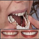 ZNXY 4 Pairs Veneers Snap in Teeth,Top and Bottom Teeth to Perfect Smile Cosmetic Teeth Snap On Secure Upper Lower Flex Dental Veneers