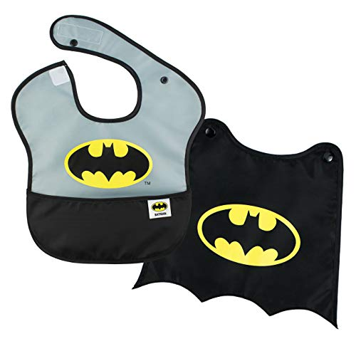 Bumkins DC Comics Batman SuperBib, Baby Bib, With Cape, Waterproof, Washable, Stain and Odor Resistant, 6-24 Months (Pack of 1)