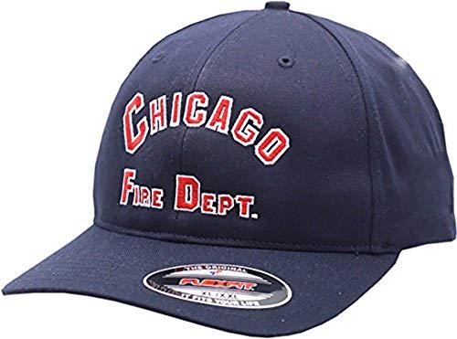 Chicago Fire Department Flex Fit Hat Arched Logo (S/M) Navy