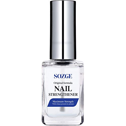 SOZGE Nail Strengthener for Treating Weak, Damaged Nails, Promotes Growth, Use as a Top Coat or Base Coat