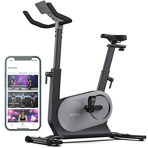 RENPHO AI-Powered Exercise Bike, Indoor Cycling Bike with FTP Power Training, Auto Resistance Stationary Bike, Scenic Riding for Home Workout, Airflow Seat, APP for iOS Android [Tablet Not Included]