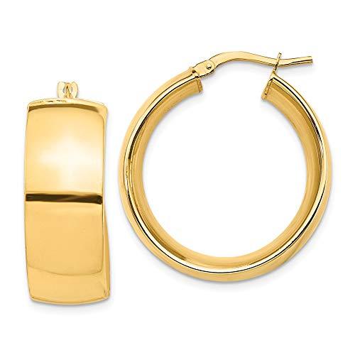 Orecchini a cerchio da donna in oro giallo 14 kt, piccoli 10 mm, 27,88 x 25,65 mm