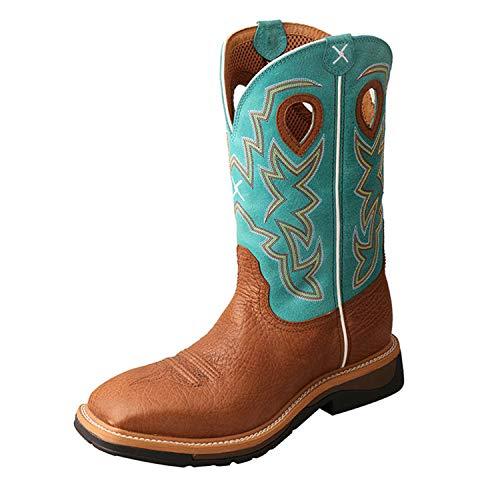 Twisted X Men's Steel Toe Lite Western Work Boot, Cognac Bull Hide/Turquoise, 11(EE)