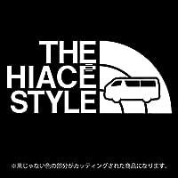 ハイエース 200系ステッカー THE HIACE STYLE【カッティングシート】パロディ シール(12色から選べます) (白)