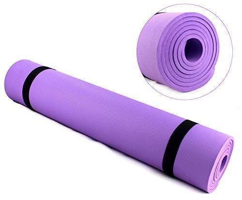 Esterilla de Yoga, Alfombrilla de Yoga de Espuma Eva Antideslizante Impermeable y Acolchada para Yoga 173x61cm Espesor de 6mm (Morado)