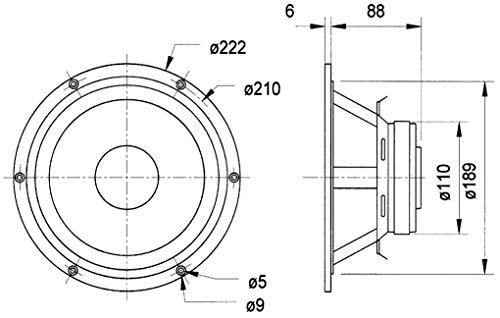 Visaton VS-GF200 - Speaker-Driver (120 W, 180 W, 4 Ohm, fu–8000 Hz, Schwarz, 1,5 kg)