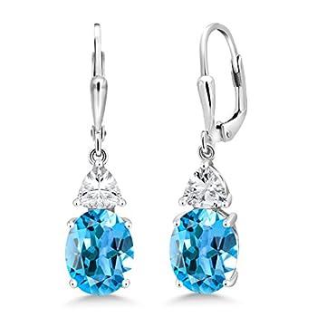 Gem Stone King 925 Sterling Silver Swiss Blue Topaz Women s Dangle Earrings 5.40 Cttw Gemstone Birthstone