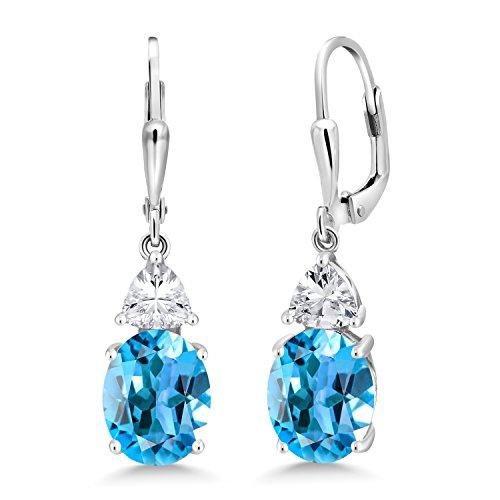 Gem Stone King 925 Sterling Silver Swiss Blue Topaz Women's Dangle Earrings, 5.40 Cttw, Gemstone Birthstone