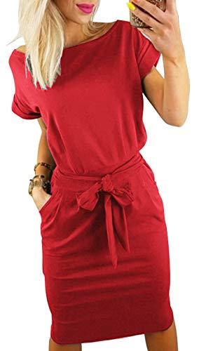 Longwu Women's Elegant Short Sleeve Wear to Work Casual Pencil Dress with Belt Red-L