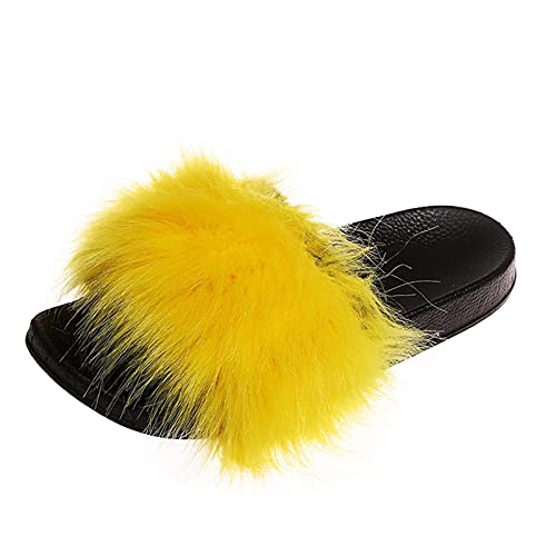 Fomino Hausschuhe Damen Plüsch Pantoletten Damen Plüsch Weichen Sohle Slipper Offene Schuhe Bequem Flauschige Kunstpelz Slipper Frauen Mode Große Größe Flat Sandal Offene Schuhe