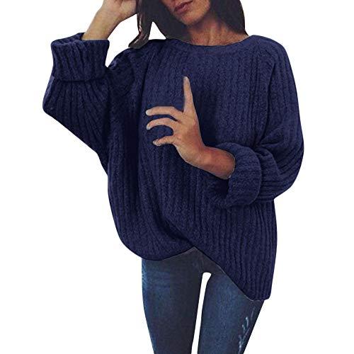 Writtian Sweatshirt Damen Oberteile Pullis Rundhals Einfarbig Grobstrick Pullover Langarm Lose Casual Bluse Jumper Tops Herbst und Winter Sexy Modisch Stretch Warme Oberbekleidung