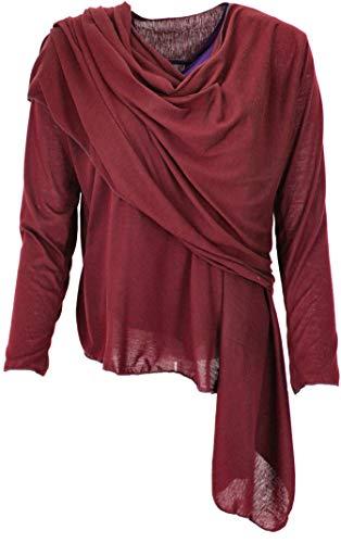 GURU SHOP Wandelbare Wickeljacke, Cardigan, Damen, Bordeauxrot, Synthetisch, Size:38, Jacken, Mäntel & Ponchos Alternative Bekleidung