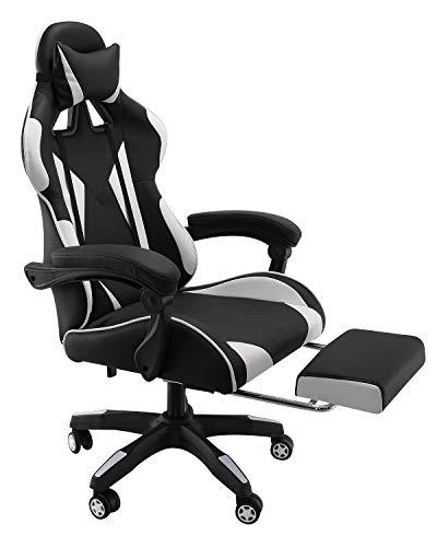 Gladle Gaming Stuhl, Büro-/ Schreibtischstuhl mit Gepolsterter Fußstütze, Wippfunktion Höhenverstellbarer Drehstuhl PC Stuhl Ergonomischer Chefsessel, Schwarz-Rot